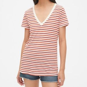 NWT GAP Vintage Wash V-Neck Red Stripe Top